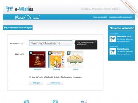 Anlegen eines online-Wunschzettels